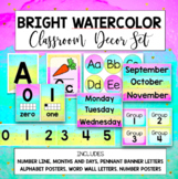 Bright Watercolor Classroom Decor Rainbow Set Editable