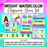 Bright Watercolor Classroom Decor Rainbow Set Editable
