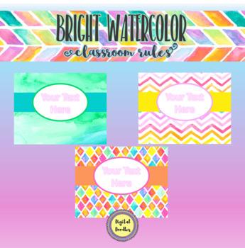 Bright Watercolor Classroom Rules ~ EDITABLE ~