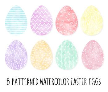 Bright Watercolor Easter Egg Clip Art. Dot, Heart Pattern Easter Eggs- 16 PNGs.