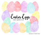 Bright Watercolor Easter Egg Clip Art. Dot, Heart Pattern