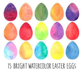 Bright Watercolor Easter Egg Clip Art. Dot, Heart Pattern Easter Eggs- 30 PNGs.
