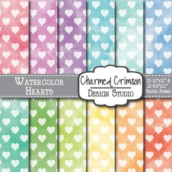 Bright Watercolor Hearts Digital Paper 1491