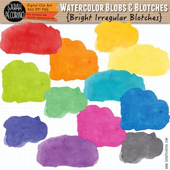Bright Watercolor Irregular Blotches Clip Art