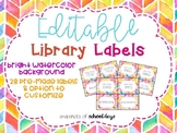 Bright Watercolor Editable Library Labels