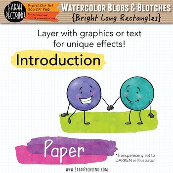 Bright Watercolor Long Rectangles Clip Art