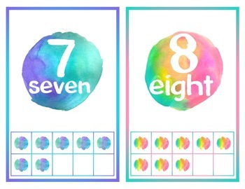 Bright Watercolor Numbers - 1-20 with ten frames