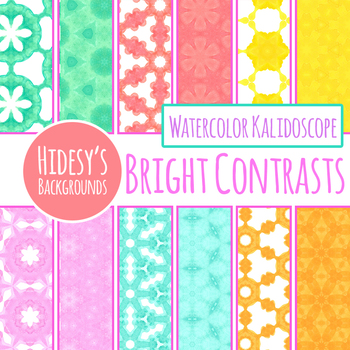 Bright Watercolor Painted Contrast Colours Digital Papers / Backgrounds Clip Art