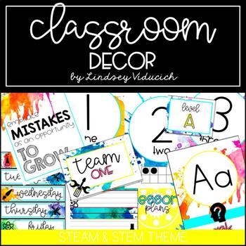 Bright Watercolor STEAM and STEM Theme Classroom Decor