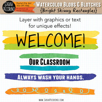 Bright Watercolor Skinny Rectangles Clip Art
