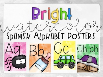 Bright Watercolor Spanish Alphabet Posters