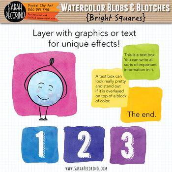 Bright Watercolor Squares Clip Art