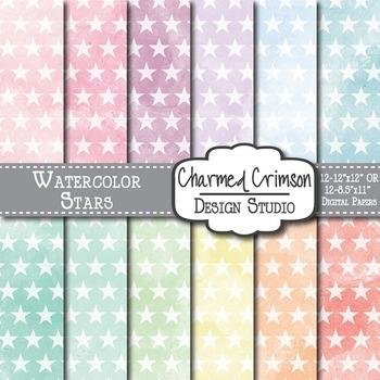 Pastel Watercolor Stars Digital Paper 1507