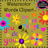 Bright Watercolor Words Clipart - encouraging clipart
