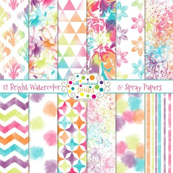 Bright Watercolor and Spray Papers
