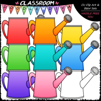 Bright Watering Cans Clip Art & B&W Set