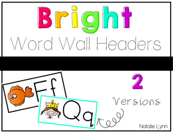 Bright Word Wall Headers