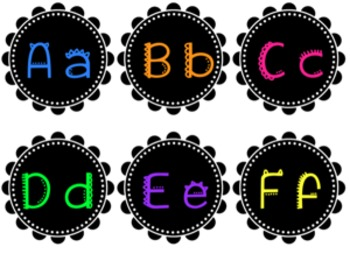 Bright Word Wall Letters and Numbers 1-120, :00-:55