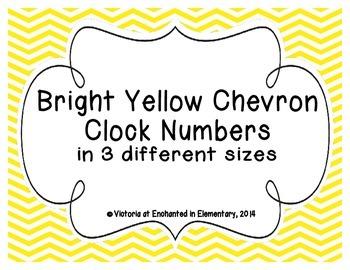 Bright Yellow Chevron Clock Numbers