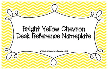 Bright Yellow Chevron Desk Reference Nameplates