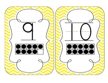 Bright Yellow Chevron Number Cards 1-20