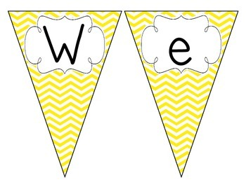 Bright Yellow Chevron Welcome Pennant