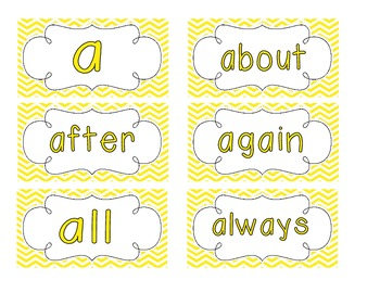 Bright Yellow Chevron Word Wall Cards