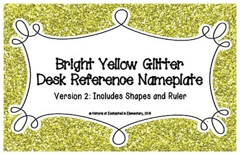 Bright Yellow Glitter Desk Reference Nameplates Version 2