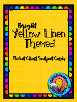 Bright Yellow Linen Themed Pocket Chart Subject Schedule Cards and Calendar