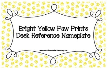 Bright Yellow Paw Prints Desk Reference Nameplates