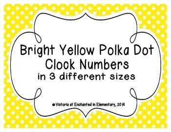 Bright Yellow Polka Dot Clock Numbers