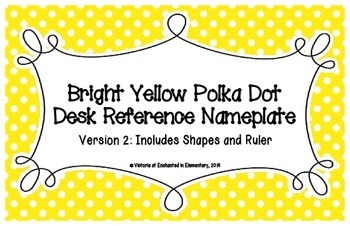 Bright Yellow Polka Dot Desk Reference Nameplates Version 2