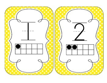 Bright Yellow Polka Dot Number Cards 1-20