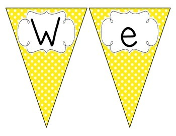 Bright Yellow Polka Dot Welcome Pennant