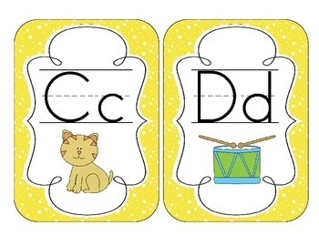 Bright Yellow Starry Skies Alphabet Cards