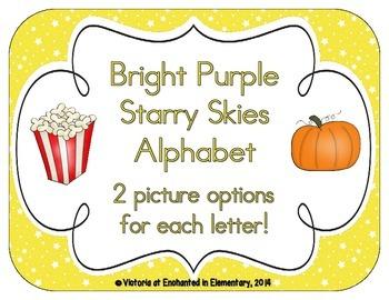 Bright Yellow Starry Skies Alphabet Cards