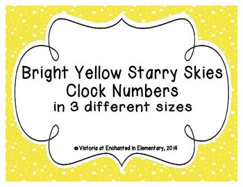 Bright Yellow Starry Skies Clock Numbers