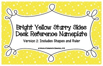 Bright Yellow Starry Skies Desk Reference Nameplates Version 2