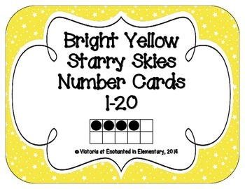Bright Yellow Starry Skies Number Cards 1-20