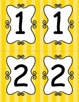 Bright Yellow Striped Table Numbers