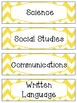 Bright Yellow & White Chevron Schedule Cards