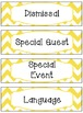 Bright Yellow & White Chevron Schedule Cards