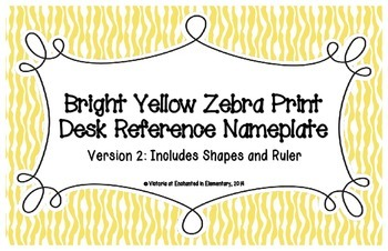 Yellow Zebra Print Desk Reference Nameplates Version 2