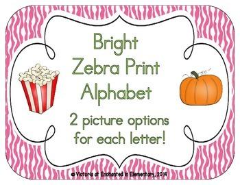 Bright Zebra Print Alphabet Cards
