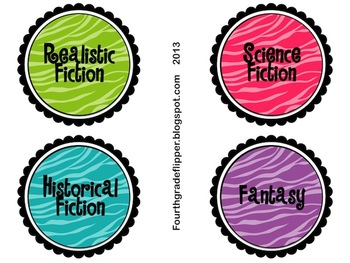 Labels EDITABLE Book Bin Labels for Classroom Library {Zebra Print}