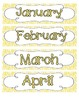 Bright Zebra Print Calendar Numbers, Months and Days