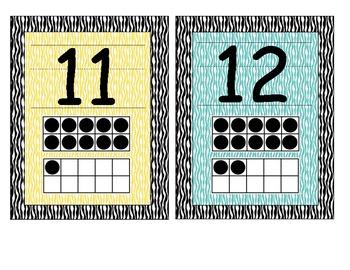 Bright Zebra Print Number Cards 1-20