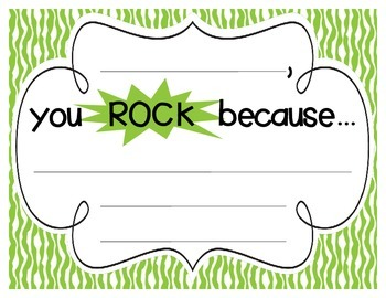 """Bright Zebra Print """"you ROCK because..."""" Student Recognition Signs"""