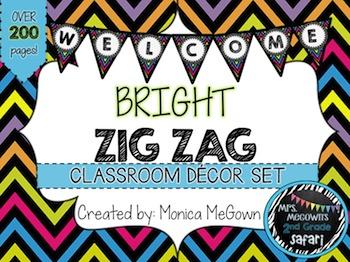 Bright Zig Zag Classroom Decor Set {EDITABLE}