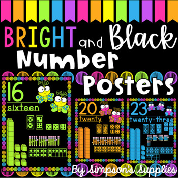 Bright and Black Number Posters